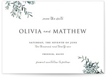This is a green save the date by Christie Kelly called Fresh Sage with standard printing on signature in standard.