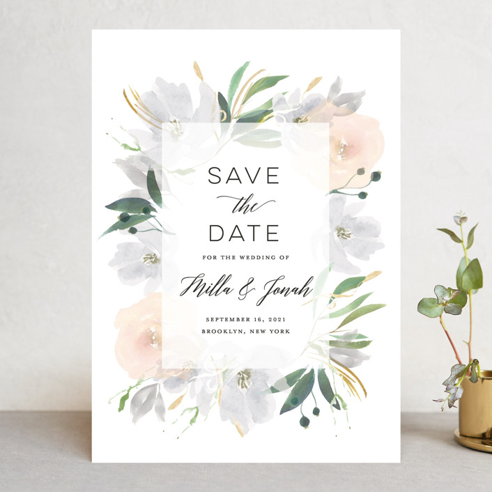 """""""Grande Botanique"""" - Save The Date Cards in Mist by Bonjour Paper."""