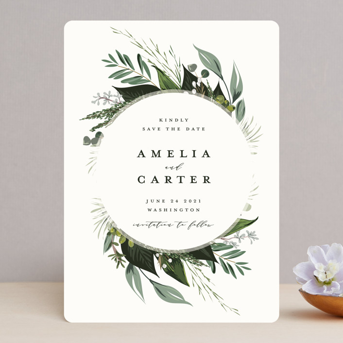 """""""Natures Greens"""" - Save The Date Cards in Ivory by Susan Moyal."""