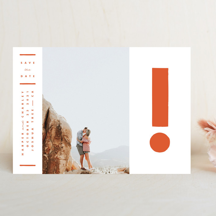 """""""The Exclamation"""" - Bold typographic, Modern Save The Date Cards in Persimmon by Yours Madly."""