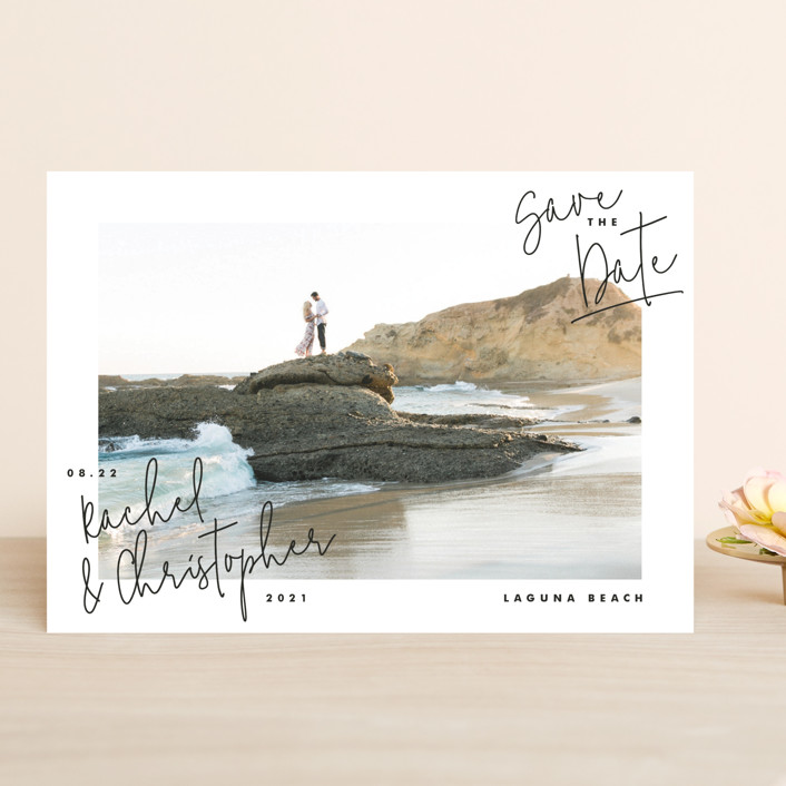 """""""hand-written"""" - Save The Date Cards in Ebony by Lindsay Stetson Thompson."""