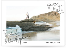 This is a black save the date by Lindsay Stetson Thompson called hand-written with standard printing on smooth signature in standard.