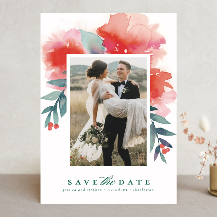 """""""Blooms + Berries"""" - Save The Date Cards in Guava by Lori Wemple."""