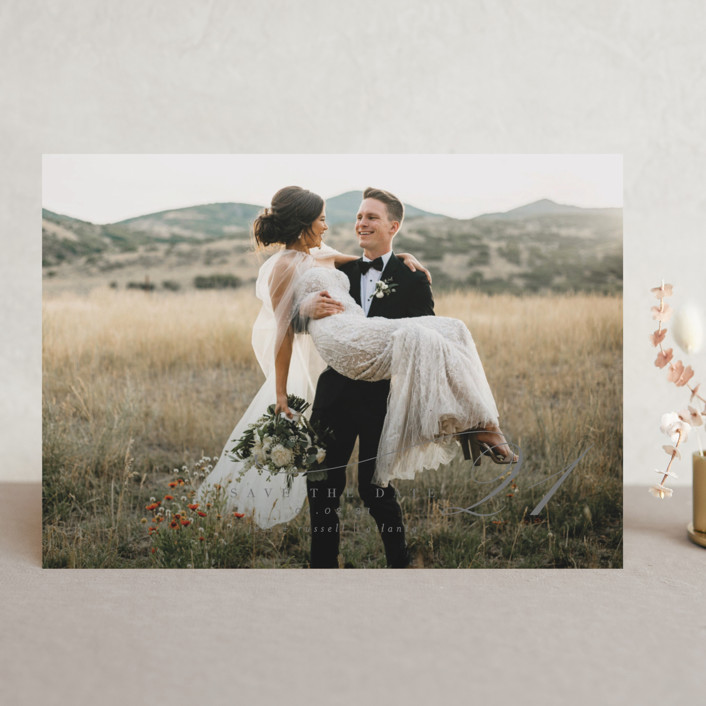 """""""Elegant Date"""" - Save The Date Cards in Snow by Lori Wemple."""