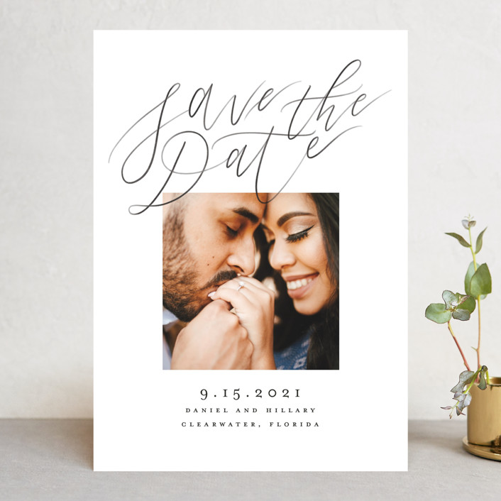 """""""Casual Script"""" - Save The Date Cards in Snow by Pink House Press."""
