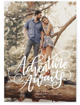 This is a white save the date by Amy Payne called Adventure Awaits with standard printing on smooth signature in standard.