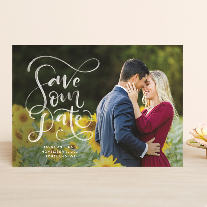 """""""Brushed"""" - Save The Date Cards in Pearl by Amy Payne."""