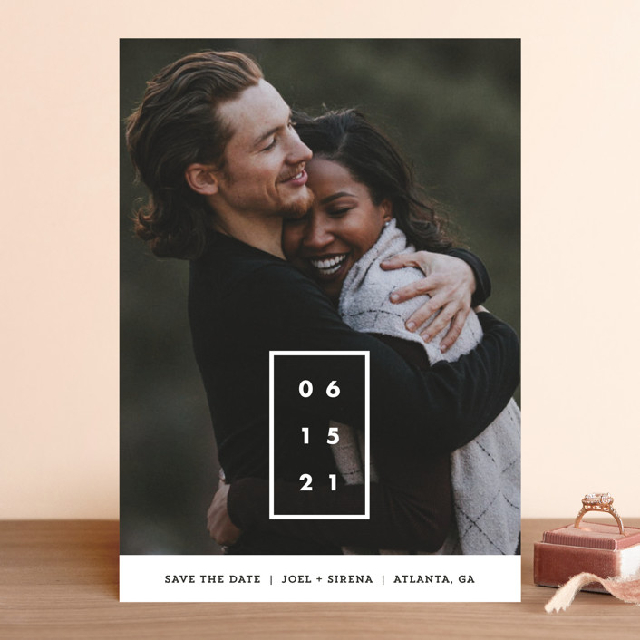 """""""Cherished Date"""" - Save The Date Cards in Pearl by Chryssi Tsoupanarias."""