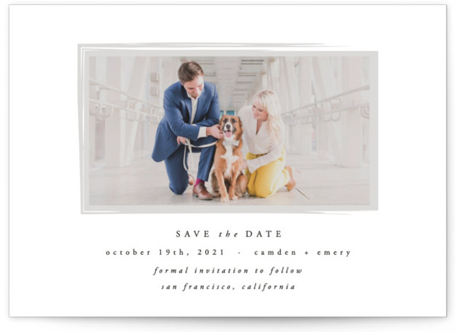 This is a painterly, simple and minimalist, grey Save the Dates by carly reed walker called Display with Standard printing on Smooth Signature in Classic Flat Card format. Simple, elegant save the date photo card with a brush texture overlay ...