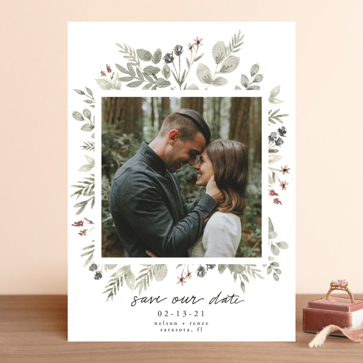 """""""Lovely Bloom"""" - Save The Date Cards in Rust by Cole Dawn Miller."""