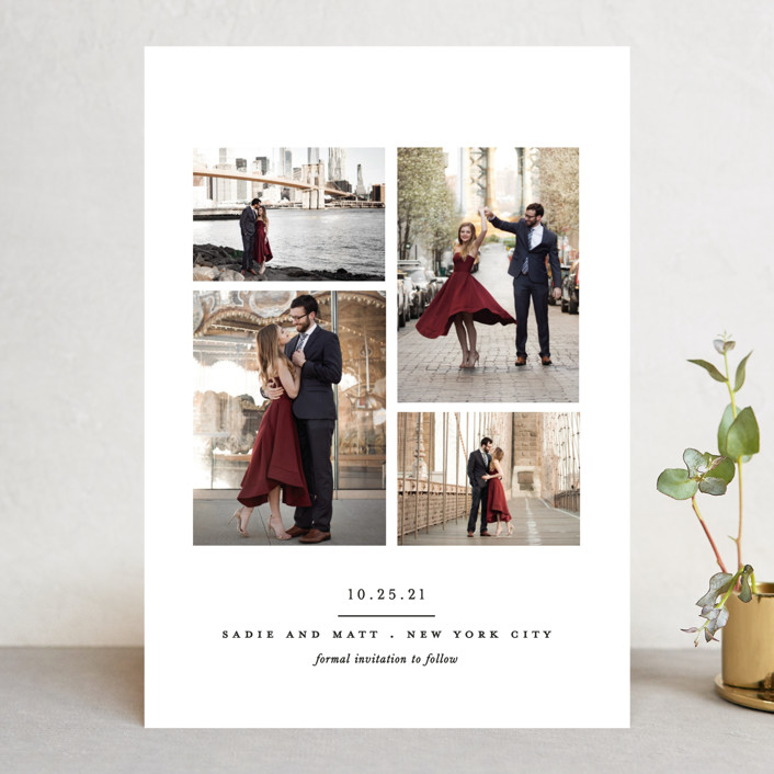 """""""Simple Minimalist"""" - Save The Date Cards in Cream by Brooke Chandler."""