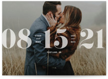 This is a white save the date by Hooray Creative called All About that Date with standard printing on smooth signature in standard.