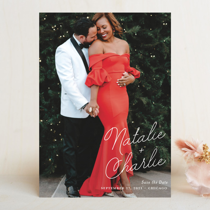 """""""Namely"""" - Save The Date Cards in Ivory by Kaydi Bishop."""