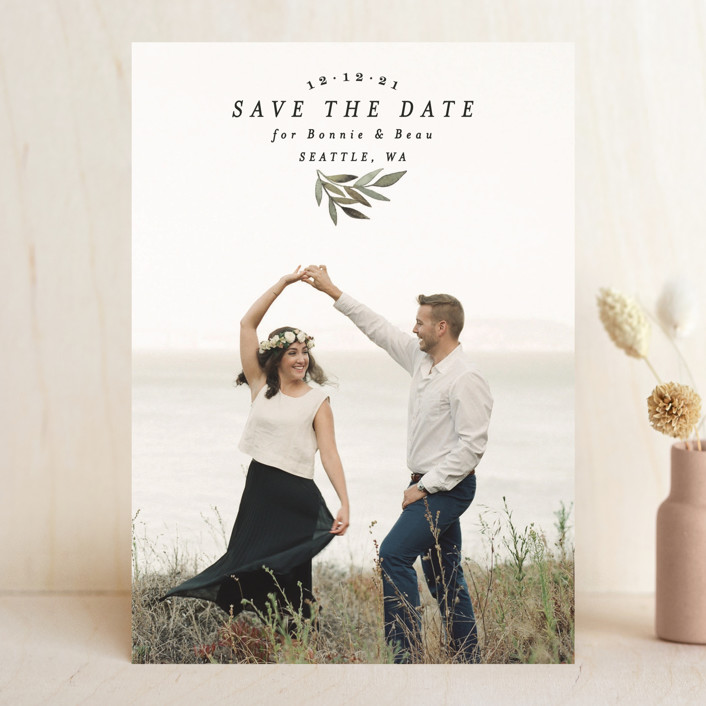 """""""Natural Leaf"""" - Save The Date Cards in Evergreen by Alethea and Ruth."""