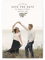 This is a green save the date by Alethea and Ruth called Natural Leaf with standard printing on smooth signature in standard.