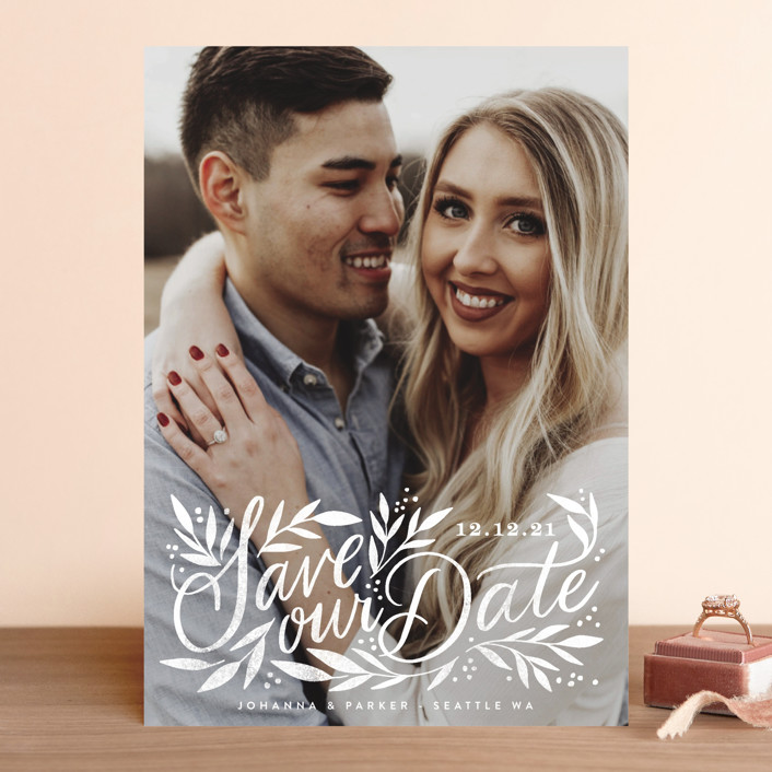 """""""Leafy Lettering Script"""" - Save The Date Cards in Pearl by Alethea and Ruth."""