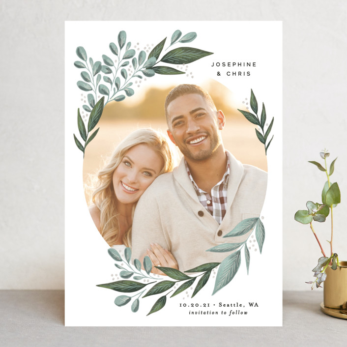 """""""Wild Leaf"""" - Save The Date Cards in Spearmint by Alethea and Ruth."""