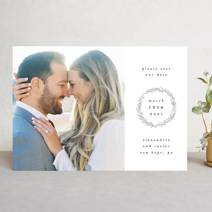 """Elegant Emblem"" - Save The Date Cards in Dove by Everett Paper Goods."