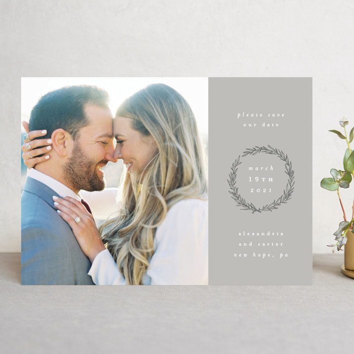 """""""Elegant Emblem"""" - Save The Date Cards in Dove by Everett Paper Goods."""