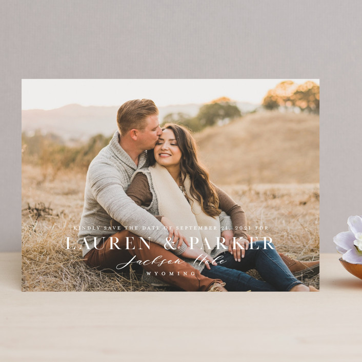 """Classic Touch"" - Save The Date Cards in Pearl by Oscar & Emma."