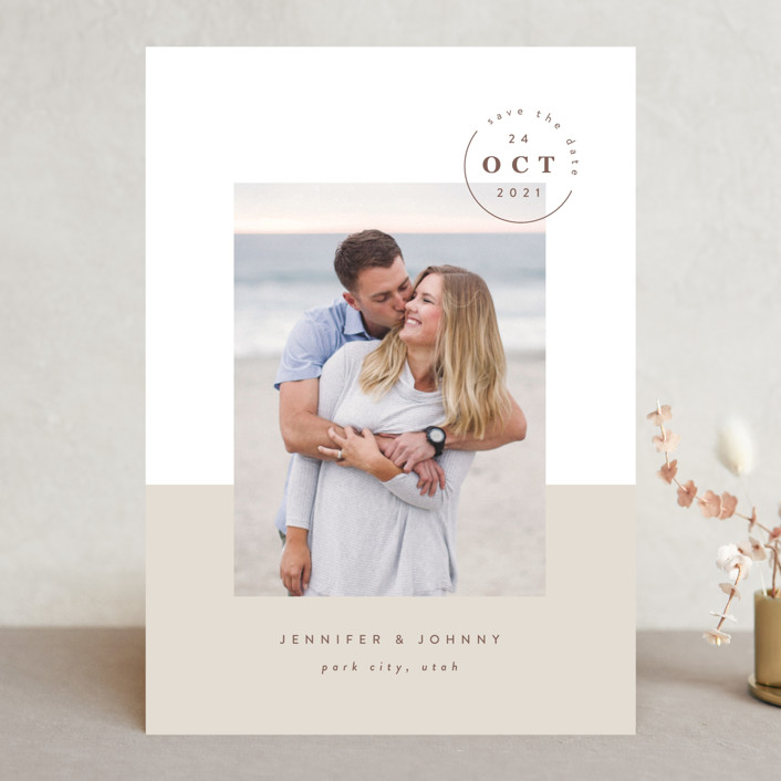 """""""Modern Passport"""" - Modern Save The Date Cards in Sand by Robert and Stella."""