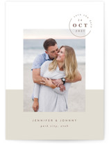 This is a grey save the date by Robert and Stella called Modern Passport with standard printing on smooth signature in standard.