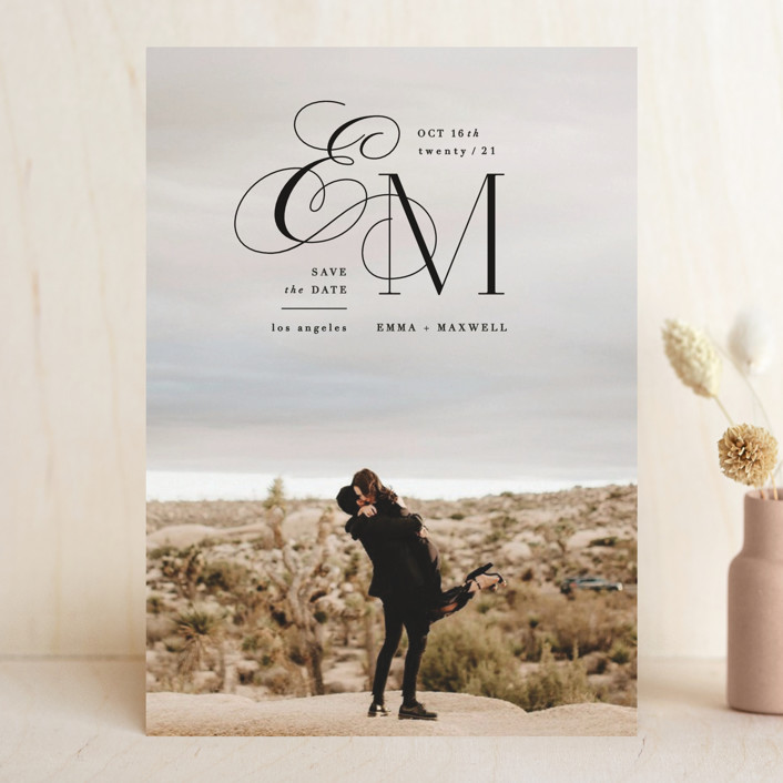 """""""Chic Monogram"""" - Save The Date Cards in Noir by Hooray Creative."""