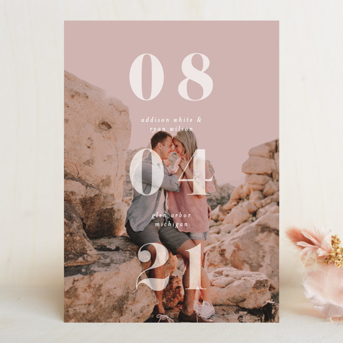 """We Found Love"" - Save The Date Cards in Opal by Pixel and Hank."