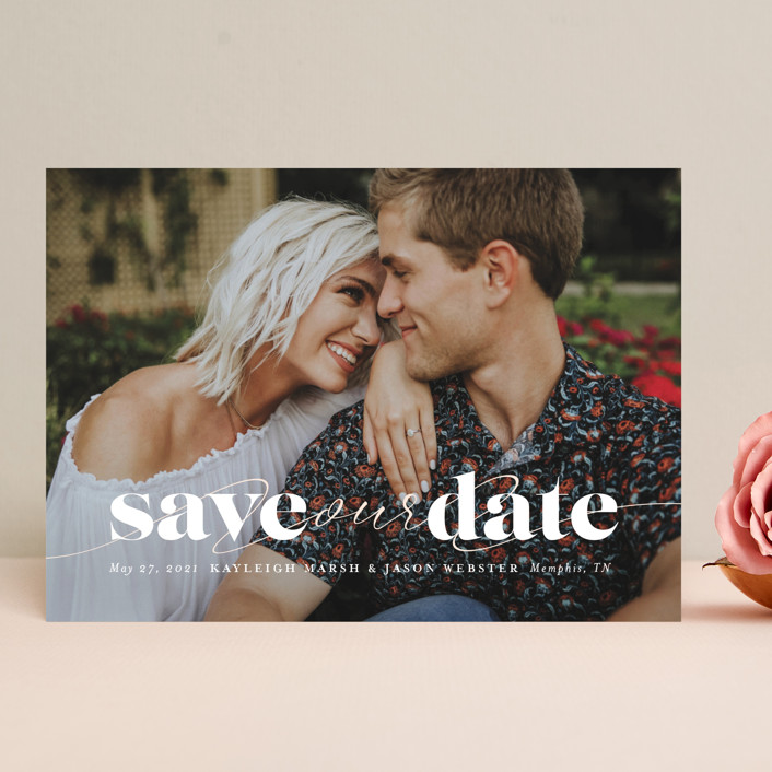 """Swoon"" - Save The Date Cards in Vanilla by Lea Delaveris."