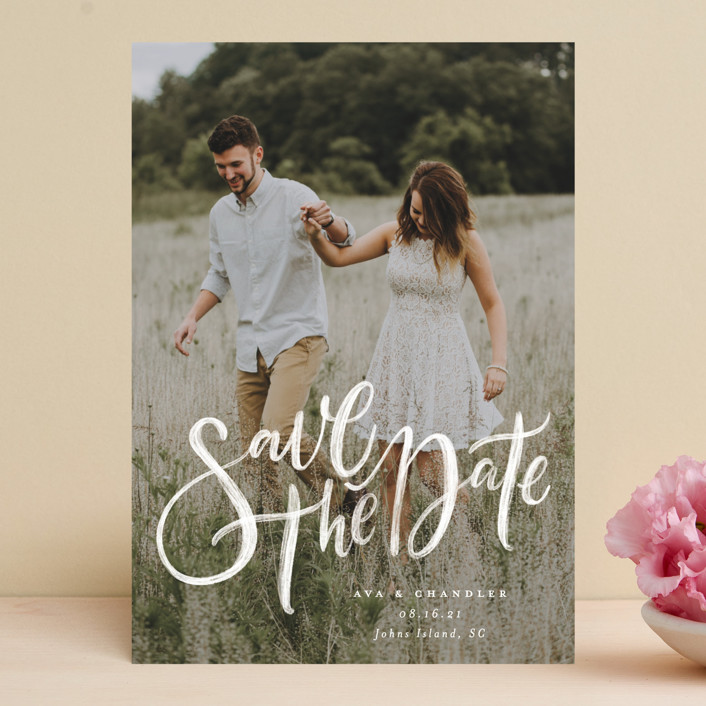 """""""Summertime Love"""" - Save The Date Cards in Cloud by Wildfield Paper Co.."""