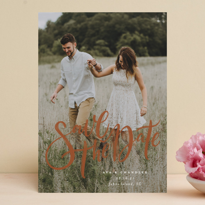 """Summertime Love"" - Save The Date Cards in Cloud by Wildfield Paper Co.."