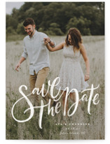 This is a white save the date by Wildfield Paper Co. called Summertime Love with standard printing on smooth signature in standard.