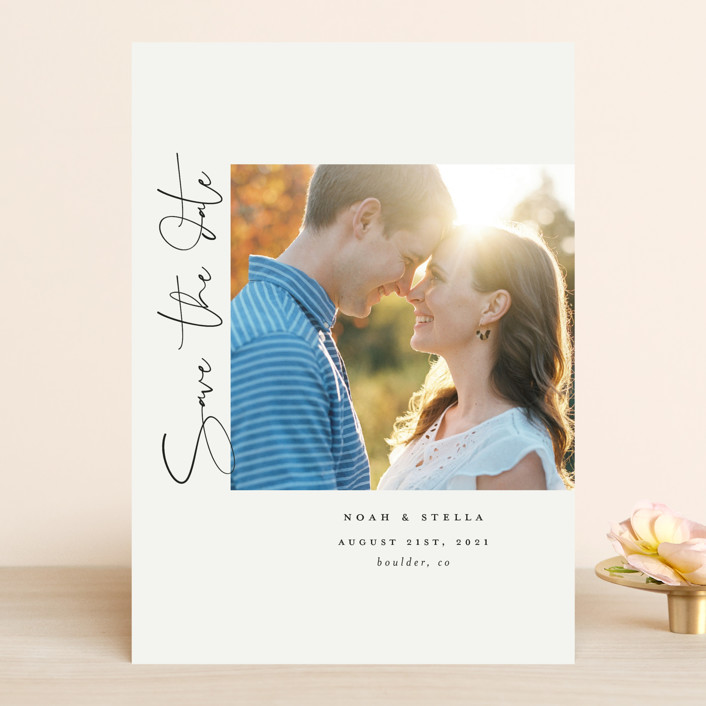 """""""side script"""" - Save The Date Cards in Parchment by Morgan Kendall."""
