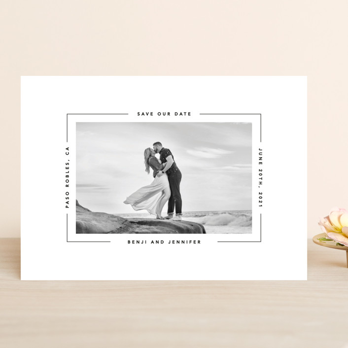 """""""Aperture"""" - Save The Date Cards in Ivory by Laura Hamm."""