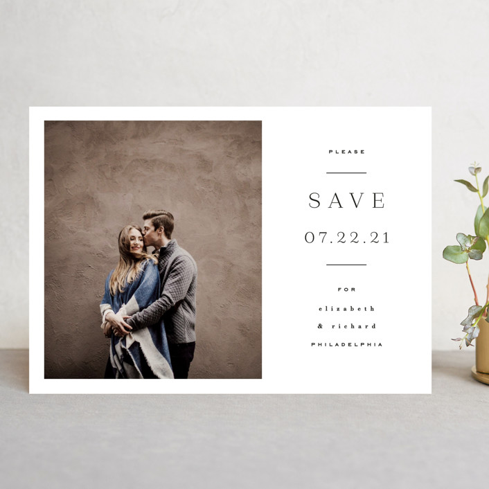"""Editorially"" - Save The Date Cards in Tuxedo by Everett Paper Goods."