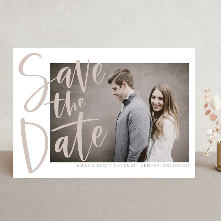 """""""Simple Love"""" - Save The Date Cards in Tan by Vine and Thistle."""