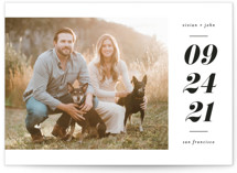 This is a white save the date by Ink and Letter called Vivian with standard printing on smooth signature in standard.