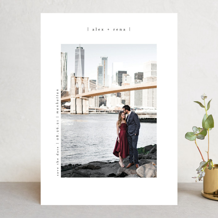 """""""Cityscape"""" - Save The Date Cards in Onyx by Faith Dorn."""