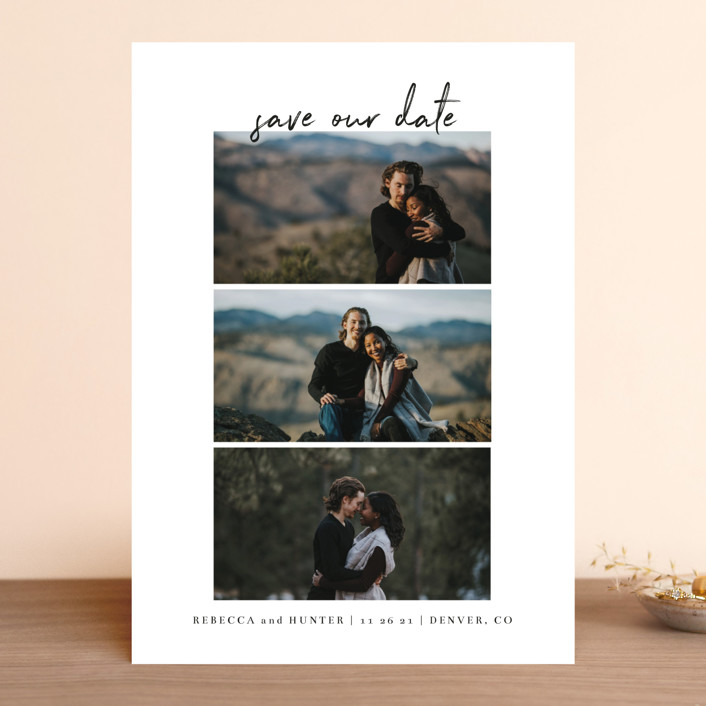 """""""Simple Trio"""" - Save The Date Cards in Charcoal by Heather Cairl."""