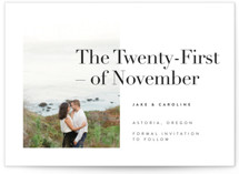 This is a black and white save the date by Karen Schipper called Frankie with standard printing on smooth signature in standard.
