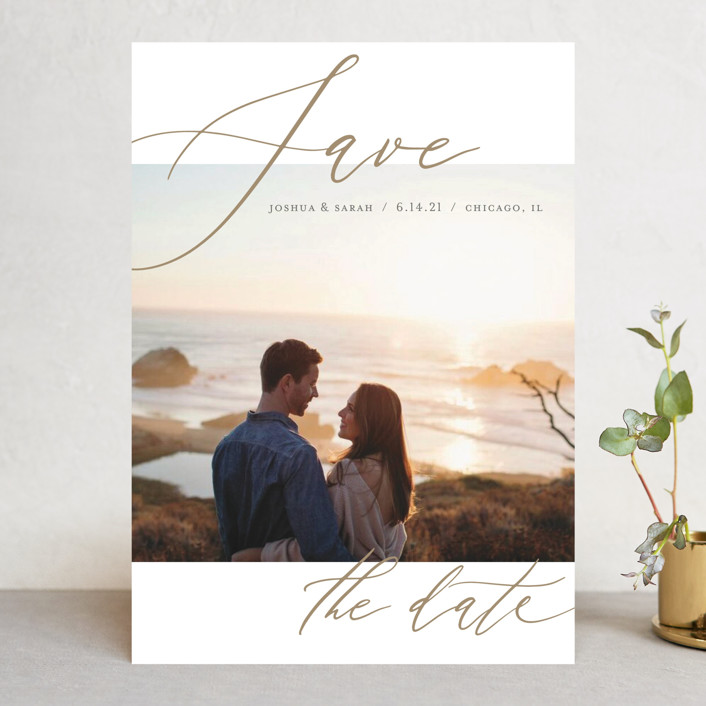 """Flow"" - Save The Date Cards in Amber by Lisa Guerrero."