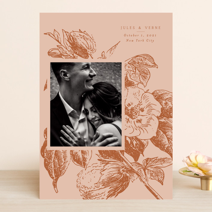 """""""Vintage Romance"""" - Save The Date Cards in Peach by Nazia Hyder."""