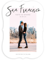 This is a white save the date by Poi Velasco called City Love with standard printing on smooth signature in standard.