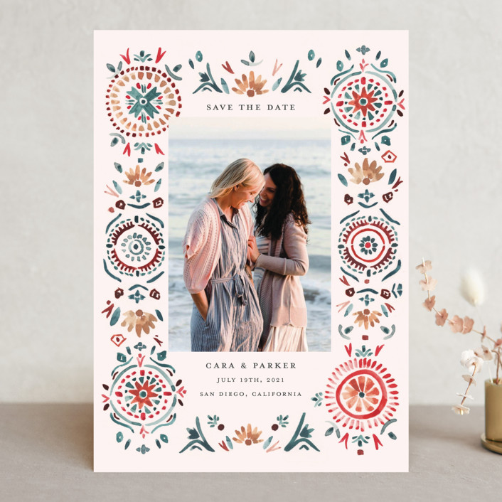 """""""Boho Bright"""" - Bohemian Save The Date Cards in Pomegranate by Morgan Ramberg."""