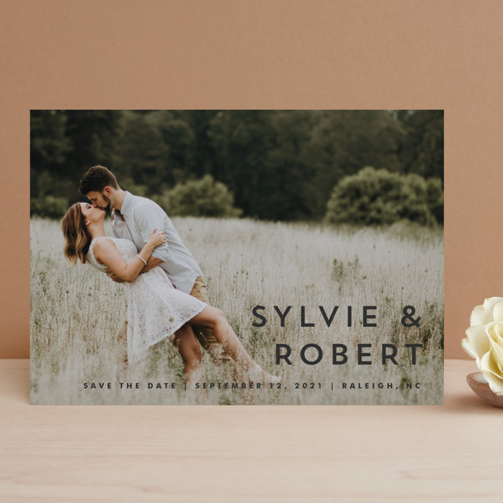 """""""Modern Offset"""" - Save The Date Cards in Cream by Stacey Meacham."""