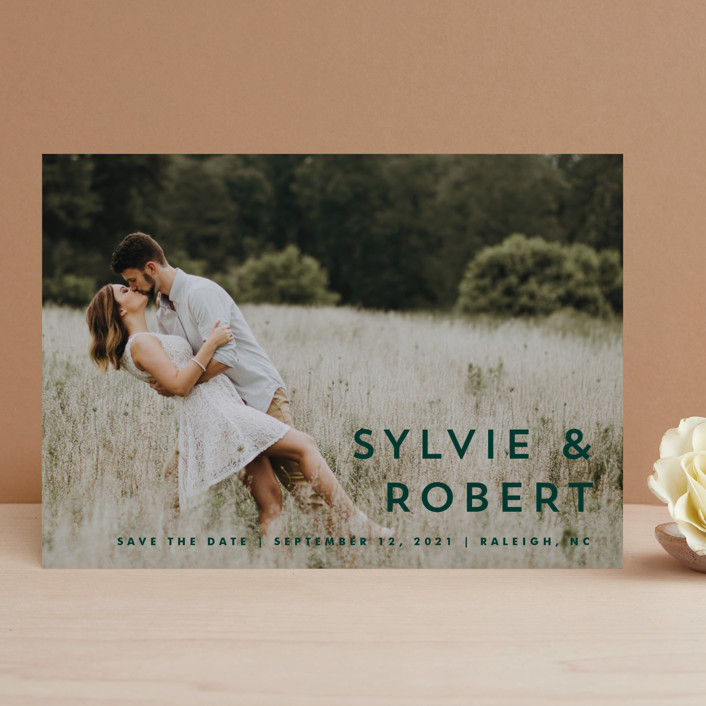 """Modern Offset"" - Save The Date Cards in Cream by Stacey Meacham."