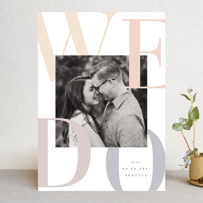 """""""We Do."""" - Save The Date Cards in Sorbet by Angela Garrick."""