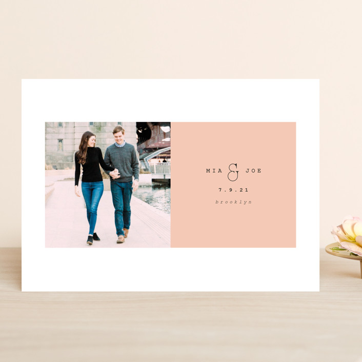 """Young love"" - Save The Date Cards in Blush by Kanika Mathur."