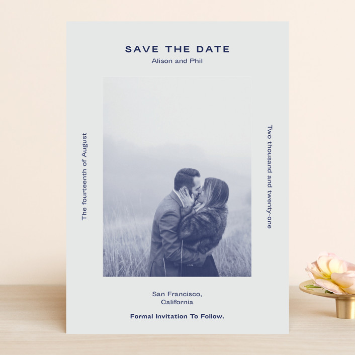 """Flyer"" - Save The Date Cards in Navy by Jack Knoebber."