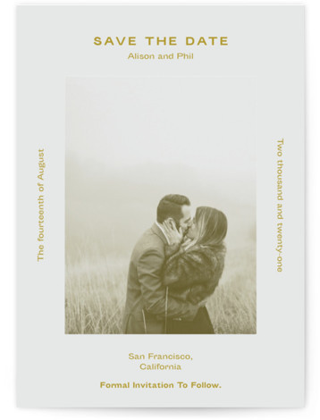 This is a bold and typographic, simple and minimalist, yellow Save the Dates by Jack Knoebber called Flyer with Standard printing on Signature in Classic Flat Card format. Typography around a photo.